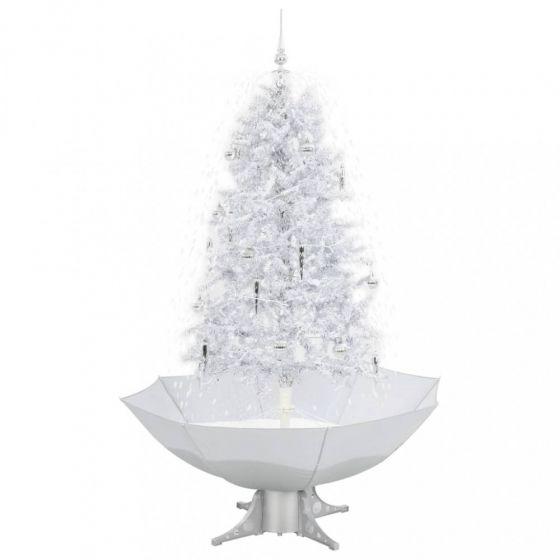 Árbol-de-Navidad-nevando-blanco/plateado-170cm