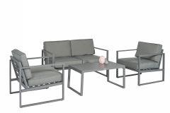 """Conjunto-de-salón-con-asientos-de-aluminio-""""Dubai""""---Gris---Pure-Garden-&-Living"""