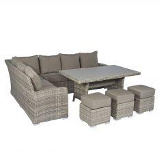 """Conjunto de salón con sofá esquinero de mimbre """"Monaco"""" - Cappucino natural - Pure Garden & Living"""