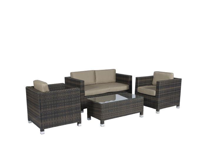 Conjunto de salón de mimbre con asientos marrones
