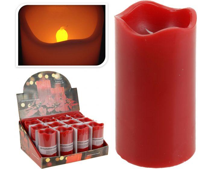 Vela LED con temporizador 7 x 13 cm roja