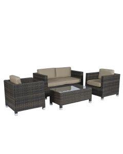 "Conjunto de salón de mimbre con asientos marrones ""Bari"" Pure Garden & Living"
