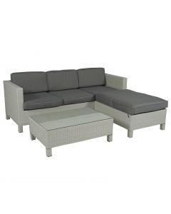 Conjunto de salón con sofá esquinero de 3 plazas de mimbre gris claro Pure Garden & Living
