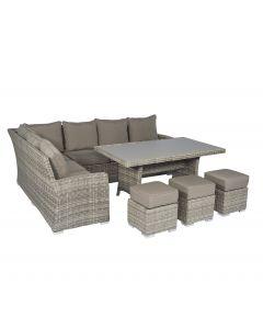 Conjunto de salón con sofá esquinero de mimbre natural Pure Garden & Living Cappucino