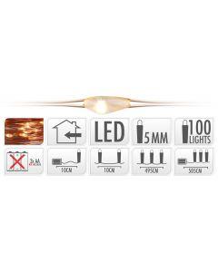 Iluminación LED 100 luces blanco cálido