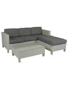 """Conjunto de salón """"Lima"""" con sofá esquinero de mimbre gris claro - Pure Garden & Living"""