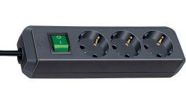 Regleta Eco-Line con interruptor 3 tomas negro